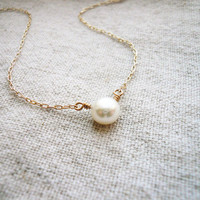 Perfect Pearl Necklace - Fresh Water Pearl and Gold Filled - Sweet and Simple Dainty Jewelry