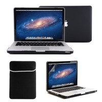 GMYLE Macbook Pro 13 - 4 in 1 Black Frosted Hard Case - Sleeve Bag and Keyboard Cover - Clear Screen Protector - (not fit for 13 Macbook Pro with Retina display)