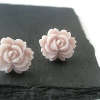 Earrings Stud Post Subtle Muted natural colour Resin Roses Flower jewellery Everyday Wear Pretty jewelry