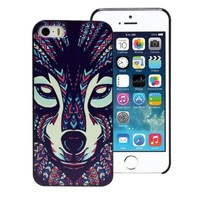 Suppion Fashion Aztec Animal Hard Back Plastic Case Cover For iphone 5 5G 5S (Wolf)