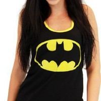 Batman Emblem Juniors Black Racerback Tank Top