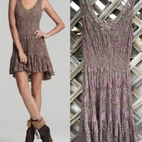 Free People Floral Lace Crochet Boho Embroidered Dress Tunic