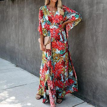 New Sexy V-neck Hanging Printed Floor-Length A Line Dress for Women