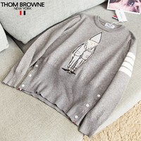 Thom Browne New fashion long sleeve sweater women Gray
