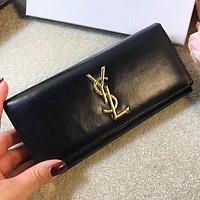 YSL Fashion New Leather Wallet Purse Handbag Black