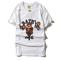 BAPE AAPE Popular Couple Casual Print Round Collar T-Shirt Top White