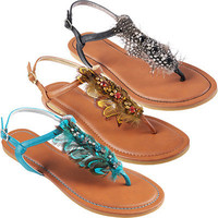 Hailey Jeans Co. Womens Feather Accent Thong Sandals|Meijer.com