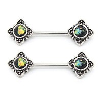 BodyJ4You Nipple Barbells Ring Tribal Flower Black Green Stainless Steel 14G Body Piercing Set 2PCS