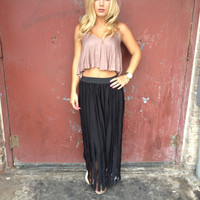 Black Stripe Maxi Skirt with Sewn in Leggings