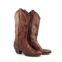 Cowboy Boots Vintage 1970s Women's Brown Leather Dan Post size 5 1/2 C