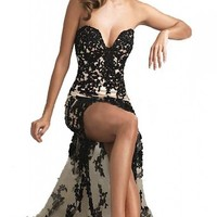 MISSYDRESS Sexy Strapless Black Lace Cocktail Bridesmaid Evening Party Prom Dress 09