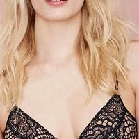 Lounge Act Black Sheer Mesh Lace Spaghetti Strap V Neck Crop Bralette