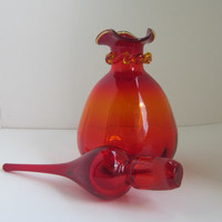 Vintage Red Glass Decanter from RAINBOW GLASS