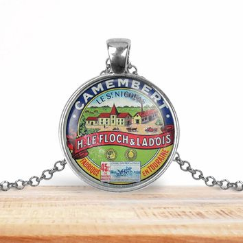 Vintage product label pendant - Camembert les St Nicholas - Foodie necklace - Francophile necklace