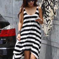 Black and White Striped Sleeveless Long Back Casual Dress