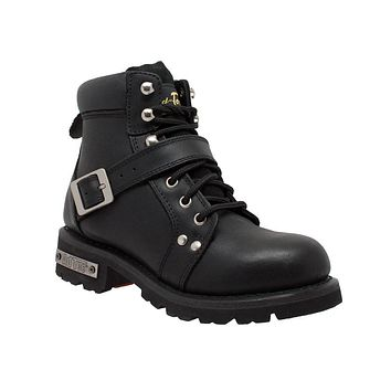 Women's YKK Zipper Black Biker Boots