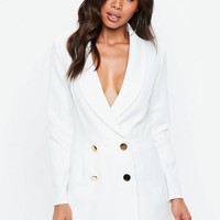 Missguided - White Tailored Military Button Romper