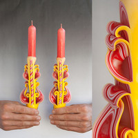 Candle set - Taper candles - Yellow candles