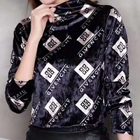 GIVENCHY Autumn Winter Trending Women Stylish Long Sleeve Pleuche Sweater Top Black