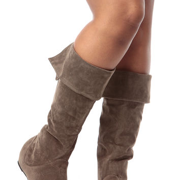 Taupe Faux Suede Fold Over Calf Length Boots