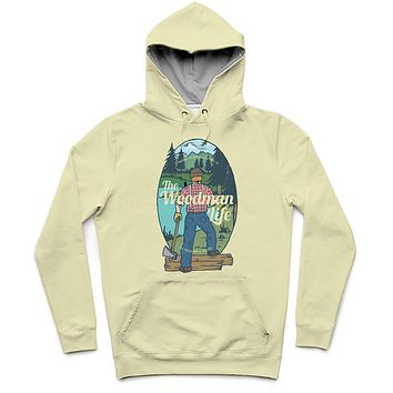 The Woodman Life Trendy All-Over Print Solid Coconut Cream Hoodie