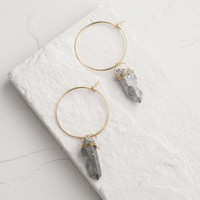 Gold Quartz Dangle Hoop Earrings