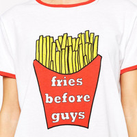 Cartoon Fries Print Short Sleeve Graphic Tee