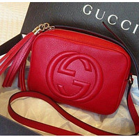 GUCCI GG G popular fashion double G solid color fringed leather shoulder bag crossbody bag Red
