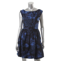 Alice + Olivia Womens Floral Print A-Line Cocktail Dress