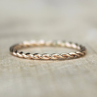 Gold Twist Ring, Tellow Gold Fill Stackable Ring, karma jewelry, eternity ring, nautical theme