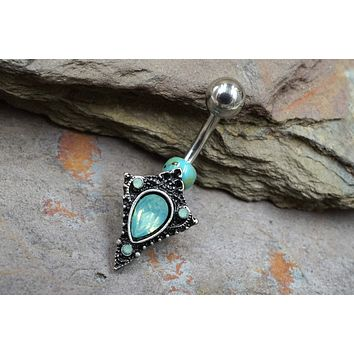 Green Opalite Crystal Set Tribal Shield 316L Surgical Steel Belly Button Navel Rings
