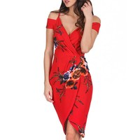 Women Red Floral Dress Sexy V Neck Off The Shoulder Party Dresses Ladies Summer Short Sleeve Midi Dress #10