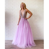Pink Beaded Low V Neck Prom Dresses Tulle Open Back Elegant Evening Dress