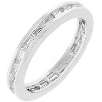 Silvertone White Eternity Ring, size : 10