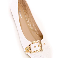 White Quilted Buckles Cute Casual Flats Faux Leather