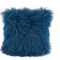 Lamb Fur Pillow Blue Wool