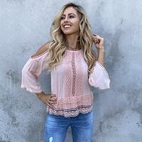 Castaway Cold Shoulder Pink Top