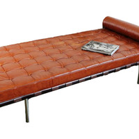 """Taylor Burke Home, Mulholland 67"""" Leather Lounger, Brandy, Daybeds"""