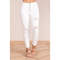 For The Win Denim Pants (White)