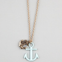 Full Tilt Double Anchor Charm Necklace Gold One Size For Women 21791462101