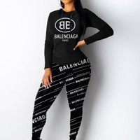 balenciaga Fashion Women Casual Print Hoodie Top Sweater Pants Trousers Set Two-piece