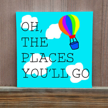 Oh, The Places You'll Go Dr Seuss Canvas Quotes For Kids Room Nursery Baby Shower Gift