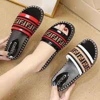 FENDI Newest Popular Women Casual Thick Sole Sandal Slipper Shoes