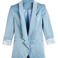 Half Sleeve Slim Blazer with Rolled Lace Cuff
