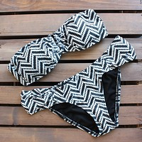 Final Sale - Tribal Chevron Bikini in Black and White