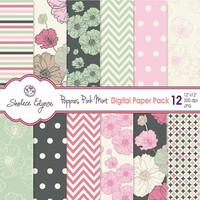 Digital Floral Paper Pack, Poppies in Pink & Mint Green 12x12 Instant Download