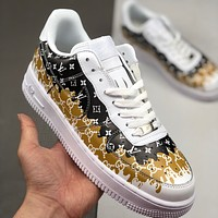alwayn LV x GUCCI x Nike Air Force 1 AF1 colorful graffiti low-top sneakers shoes