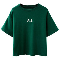 Green Letter Patched Boyfriend Short Sleeve T-shirt