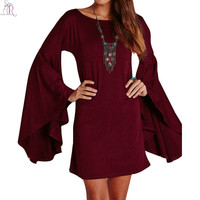 Long Flare Sleeve Shift Mini Fall Dress Wine Red Green Round Neck Loose Casual Novelty Autumn Women Clothing