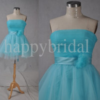 Short Blue Tulle Bridesmaid Dresses Formal Party Evening Dresses Strapless Evening Dresses New Custom Made
